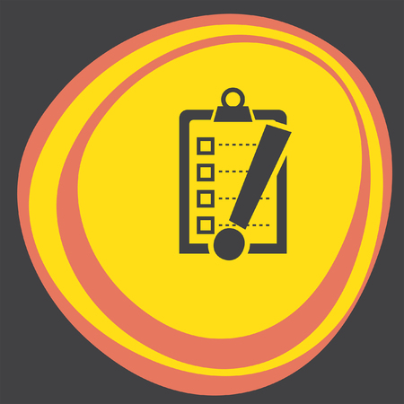 note of exclamation: check list with exclamation mark icon Illustration