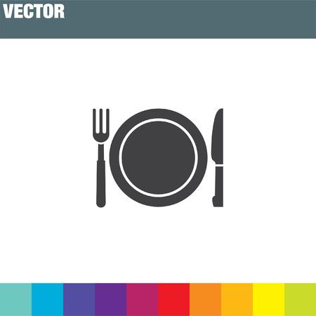 cuchillo de cocina: tenedor y cuchillo men� vector icono Vectores
