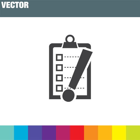 note of exclamation: check list with exclamation mark vector icon