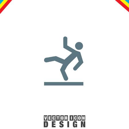 slippery floor: Slippery Wet Floor vector icon