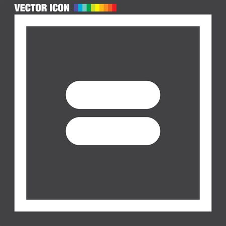 sign equals: Equal Sign vector icon
