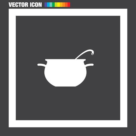 Pote de cocinar icono del vector