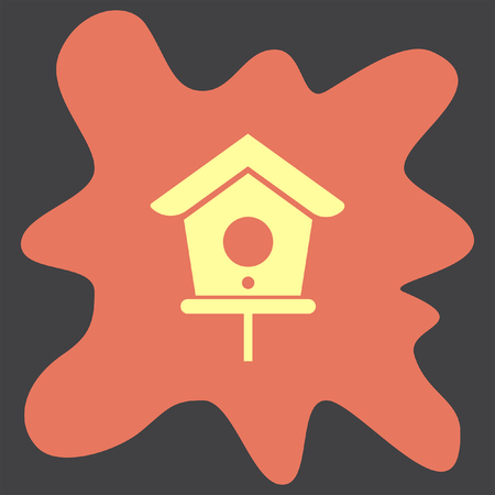 nestling birds: Bird House vector icon
