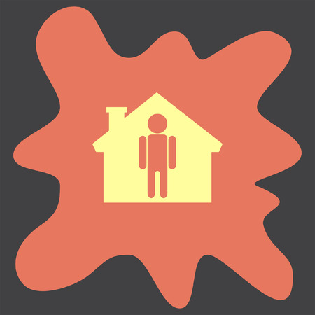 home icon: Man at Home vector icon Illustration