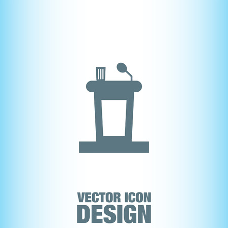 hablar en publico: Podium hablar en p�blico del icono del vector