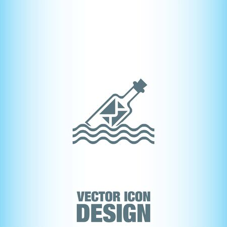 message in the bottle: Message in a Bottle vector icon Illustration