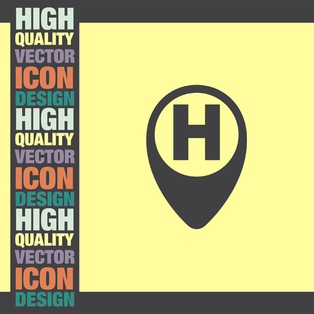ems: Street Pin for Hospital vector icon Illustration