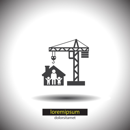 construction machinery: Construction Crane vector icon