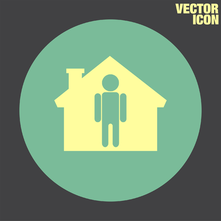real people: Man at Home vector icon Illustration