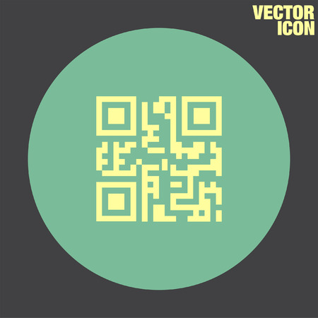 qr: QR Code vector icon Illustration