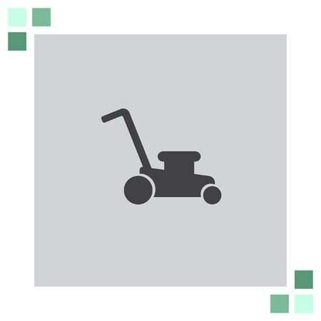 mowing the grass: Mower vector icon