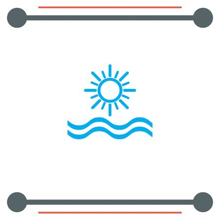 sunset beach: Sun and Sea vector icon Illustration