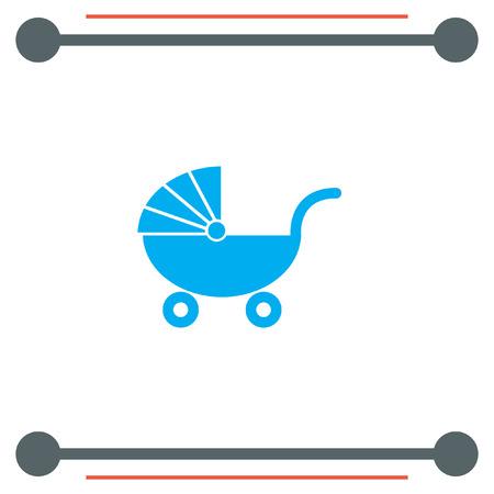 perambulator: Pushchair vector icon Illustration