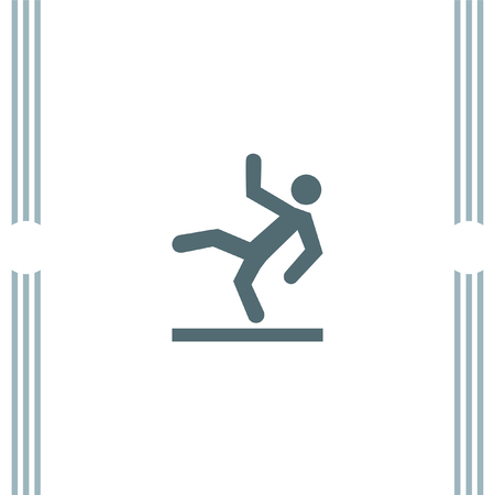 wet floor: Slippery Wet Floor vector icon