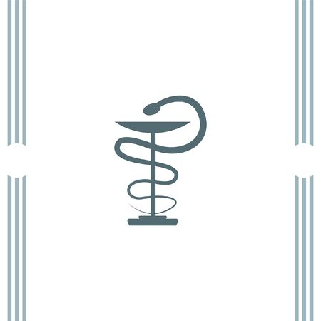 caduceus snake with stick: Pharmacy Snake vector icon