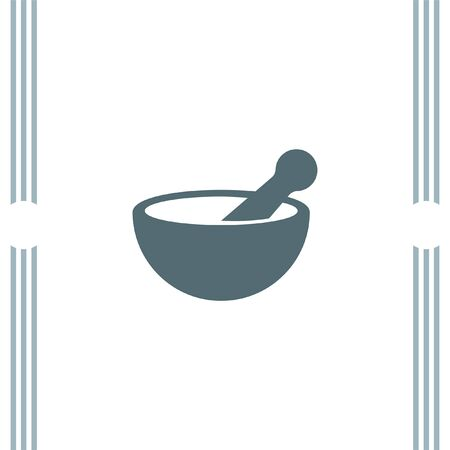 mortar and pestle: Mortar and pestle pharmacy vector icon