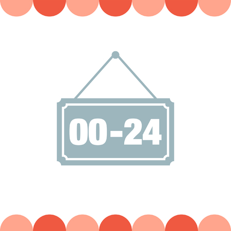 24: Open 24 hours vector icon Illustration