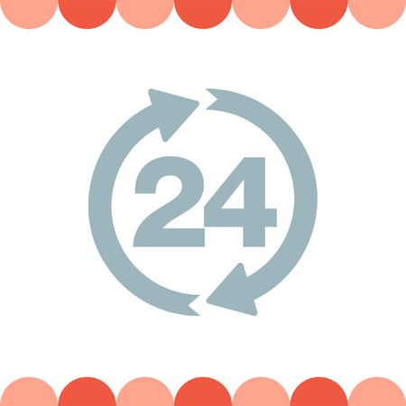 24 hour: Open 24 Hour vector icon