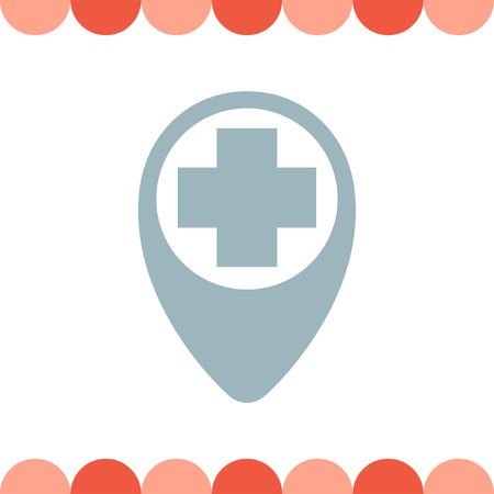 ems: Street Pin for First Aid vector icon
