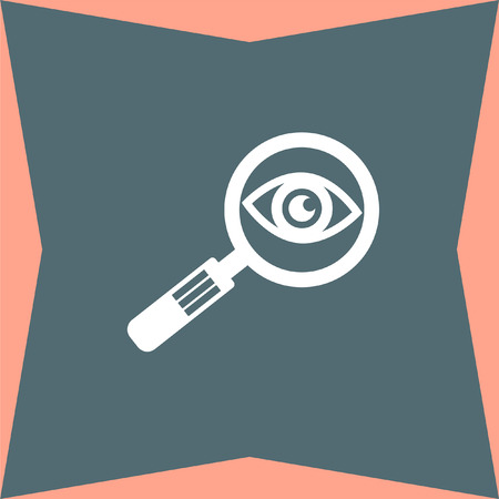 magnification icon: Magnifying Glass and Eye vector icon