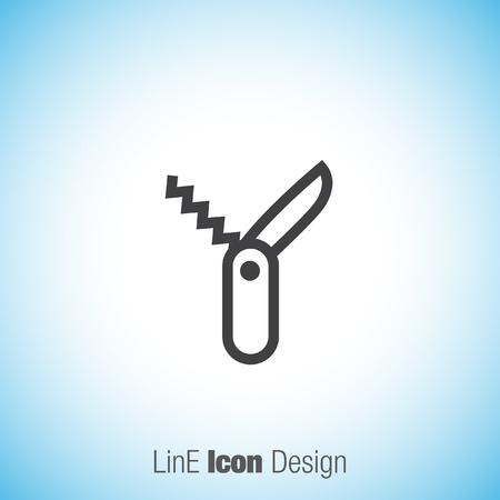 knive: Swiss knife sign line vector icon. Penknife sign vector icon. Jackknife symbol. Multitool knife icon. Multifunction tool sign. Hiking equipment symbol.