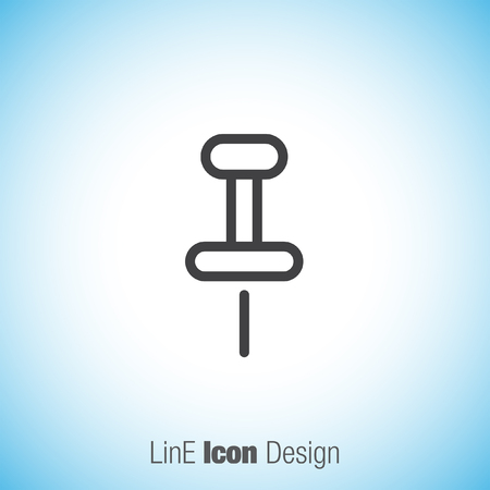 office stationery: Pushpin sign line vector icon. Pin tool sign. Office stationery symbol.