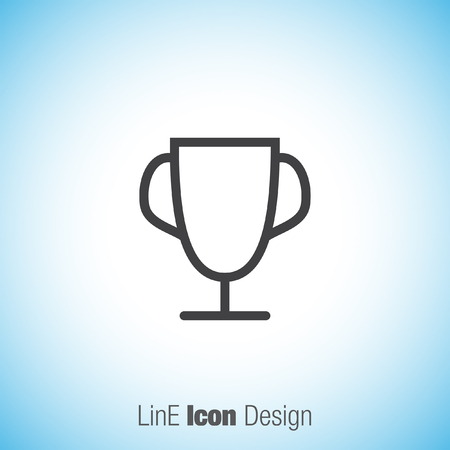 Trophy Line Vector Icon Winner Cup Icon First Place Award Sign