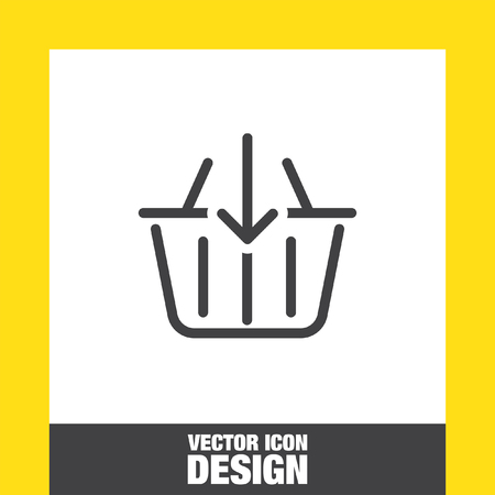 super market: Add to shopping basket line vector icon. Online shop sign line icon.
