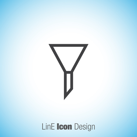 laboratory label: Filter sign line vector icon. UI control filter symbol. Illustration