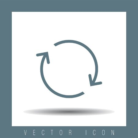 synchronize: Reload sign line vector icon. Refresh vector icon. Repeat icon. Full rotation sign. Loop symbol.