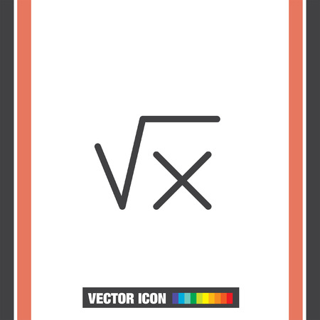 Square Root Sign Line Vector Icon Calculator Symbol Math Sign