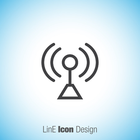 conection: Signal strenght sign line vector icon. Wi Fi signal vector icon. Wireless conection symbol. Illustration