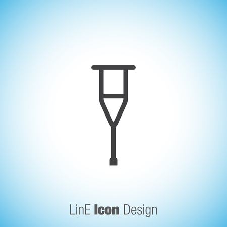 orthopedic: Crutch sign line vector icon. Support symbol. Orthopedic hospital sign.