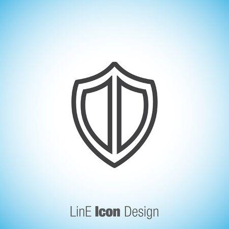 honour guard: Shield sign line vector icon. Protection simbol vector icon. Royal defence symbol.