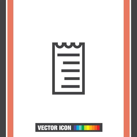 restaurant bill: Receipt sign line vector icon. Bill sign vector icon. Pay document sign. Business invoice and receipt symbol.