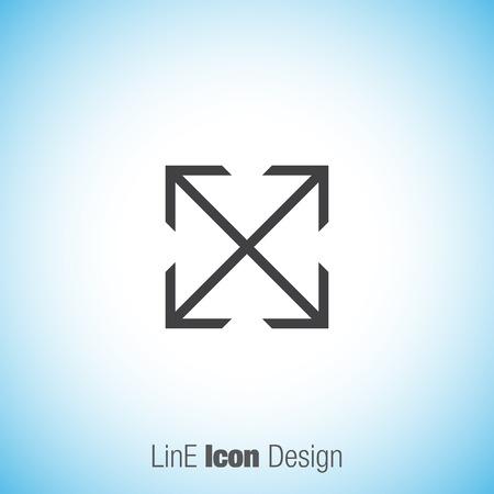 direction sign: Arrows fullscreen sign line vector icon. Direction sign line icon. Illustration