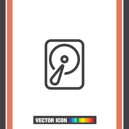 Hard disk sign vector icon. HDD sign vector icon. Hard drive storage sign. 矢量图片