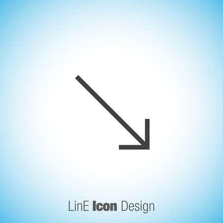 bottom: Arrow bottom right sign line vector icon. Direction sign line icon. Illustration