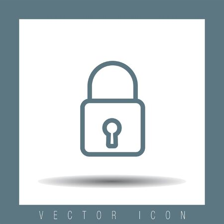 password protection: Padlock sign line vector icon. Lock sign vector icon. Protection sign. Password symbol.