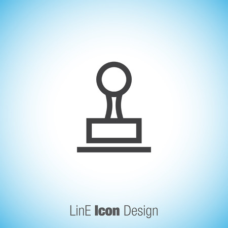 verification: Stamp sign line vector icon. Cachet symbol. Signet icon. Illustration