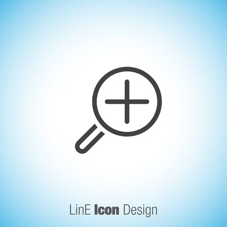glas: Zoom in sign line vector icon. Magnifying glas vector icon. Search icon. Illustration
