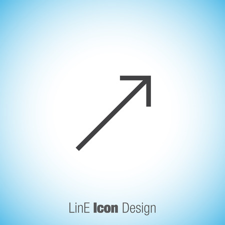 top pointer: Arrow top right sign line vector icon. Direction sign line icon.