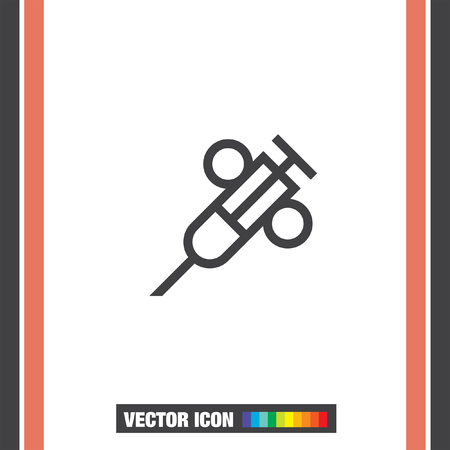immunity: Syringe sign line vector icon. First aid icon. Injection or vaccine instrument sign. Laboratory analyze symbol. Illustration