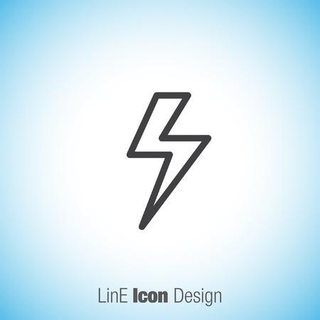 lightening: Lightening bolt sign line vector icon. Power supply sign. Electricity symbol.