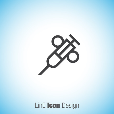 analyze: Syringe sign line vector icon. First aid icon. Injection or vaccine instrument sign. Laboratory analyze symbol. Illustration