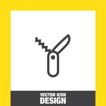 knive: Swiss knife sign line vector icon. Penknife sign vector icon. Jackknife symbol. Multi tool knife icon. Multi function tool sign. Hiking equipment symbol.