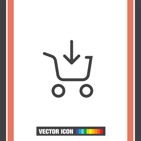 shopping chart: Add to shopping chart line vector icon. On line shop sign line icon. Illustration