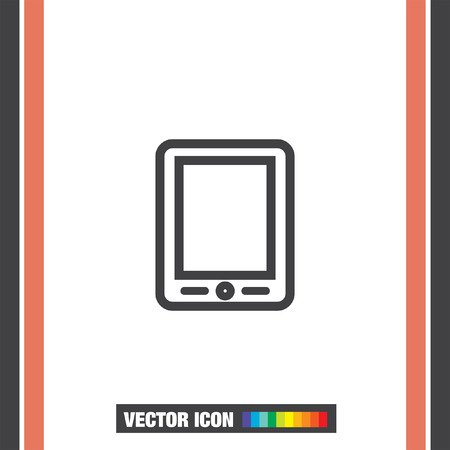pad: Tablet sign line vector icon. Touchscreen pad symbol.