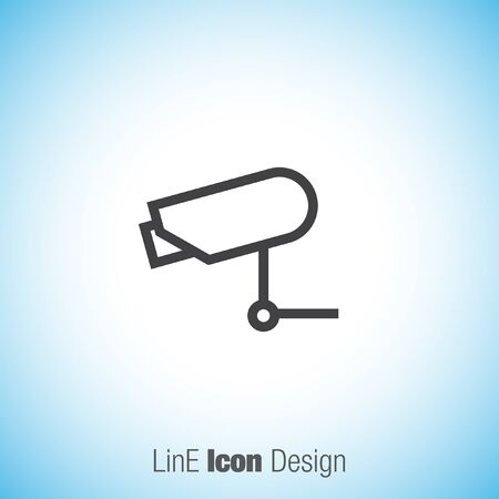 Security Camera Sign Line Vector Icon Video Monitoring Icon