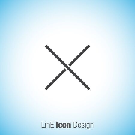 decline: Close sign line vector ivon. Multiplication sign line icon. Decline sign line icon.